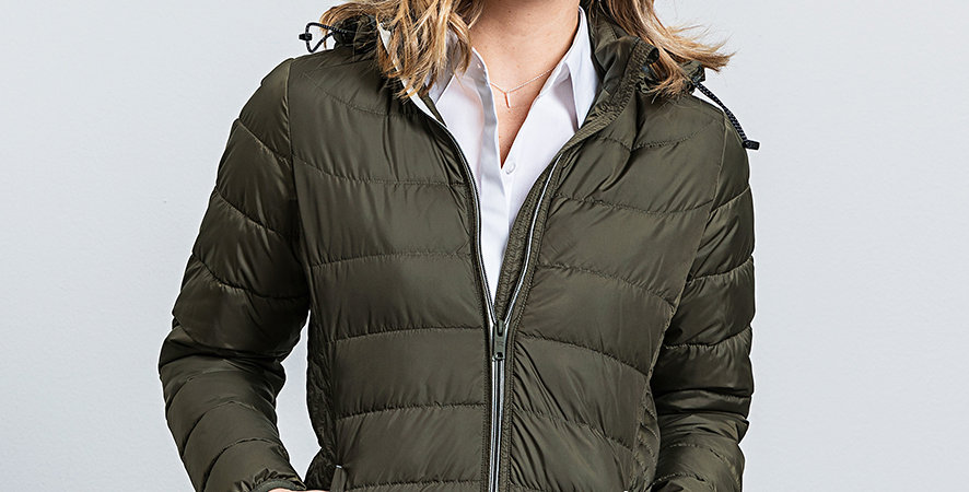 440F Russell Ladies Hooded Nano Padded Jacket