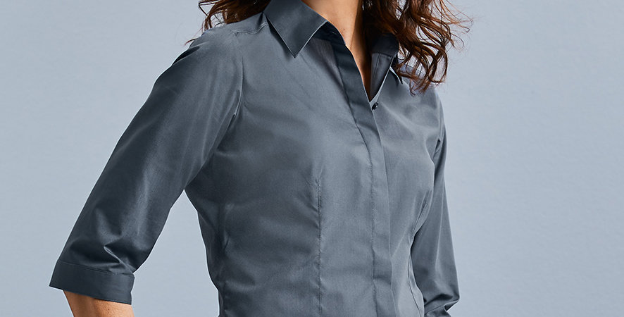 926F Russell Ladies 34 Sleeve Fitted Poplin Shirt main