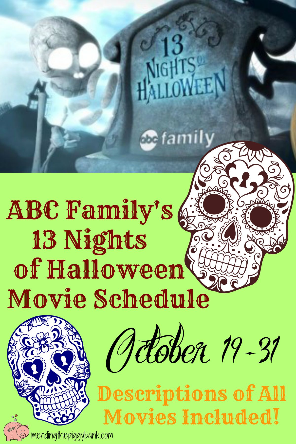 abc familys 13 nights of halloween movie schedule mending the piggy bank