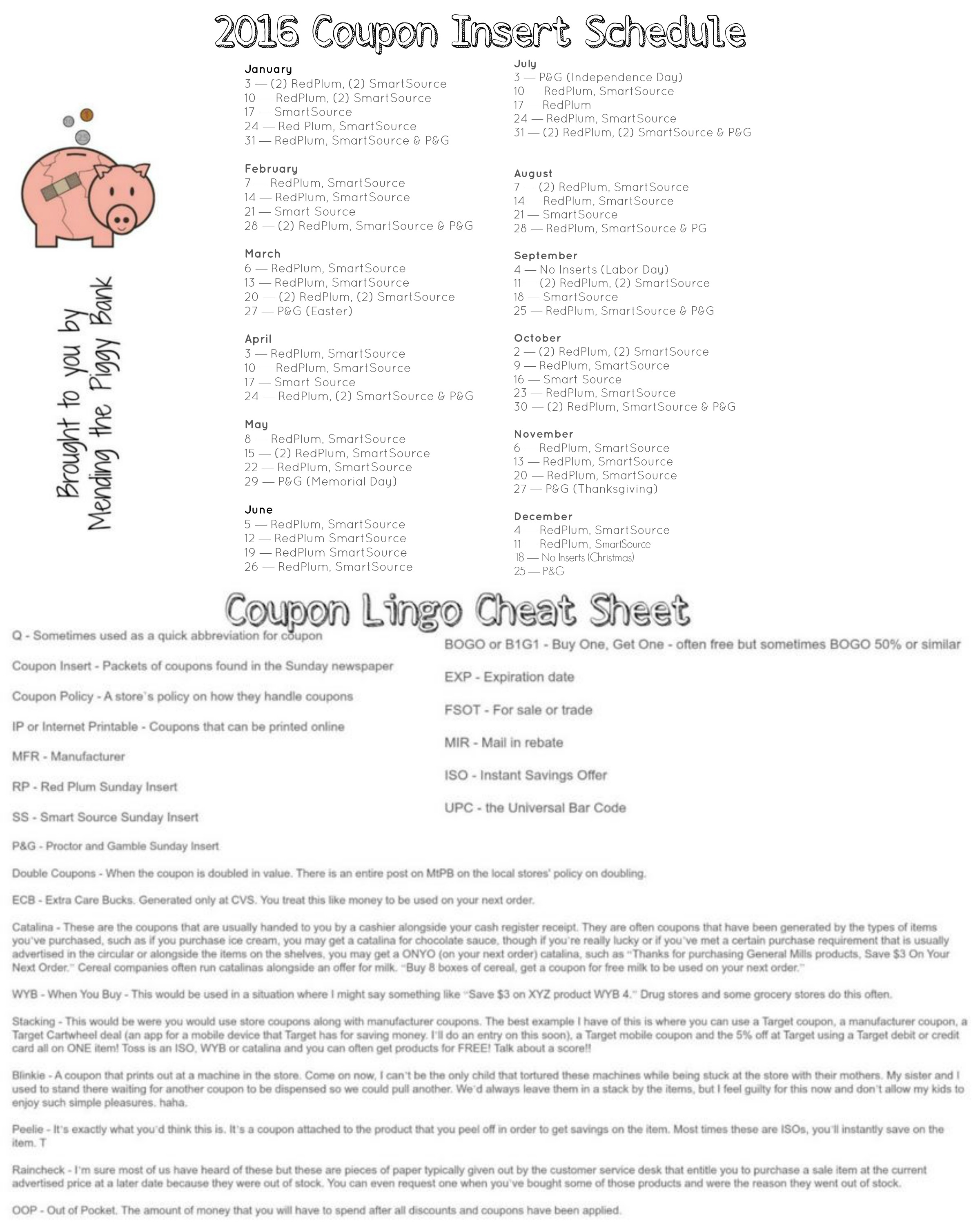 2016 Sunday Coupon Insert Schedule And Coupon Lingo Cheat Sheet Free