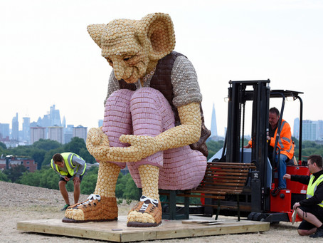 Meet the life sized BFG made from Mr Kipling Cakes