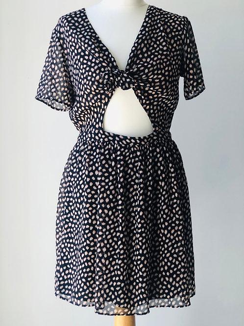 Tie front keyhole tea dress