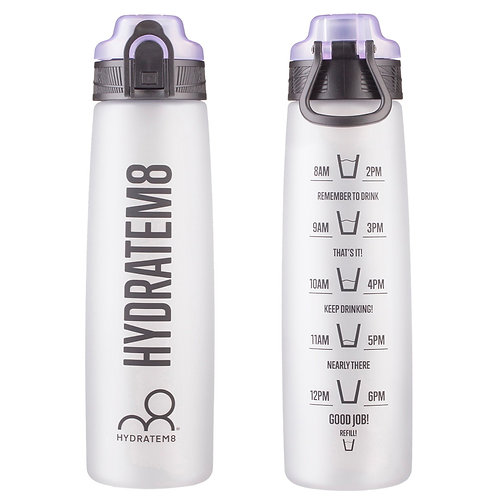 Lilac Hydration Tracker Water Bottle (active style without straw) 900ml