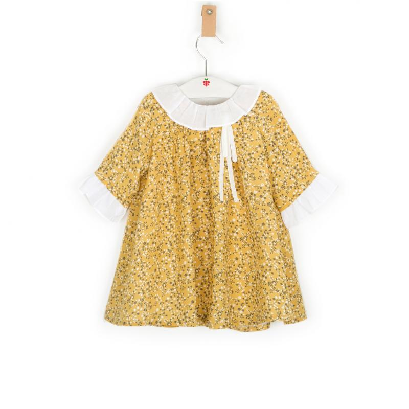 Mustard yellow floral print dress