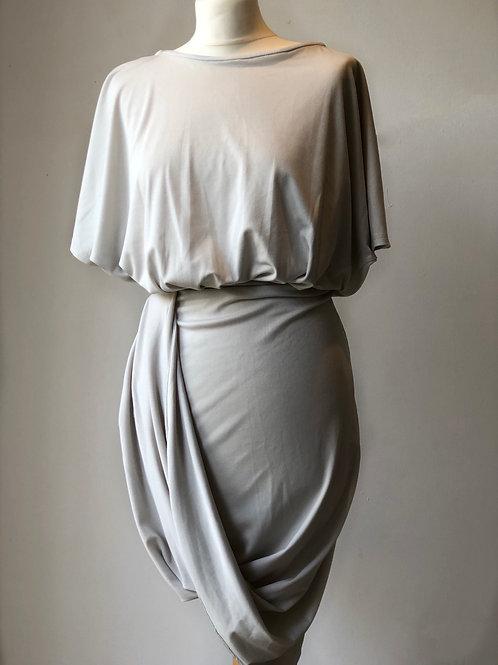 Grey drape detail dress