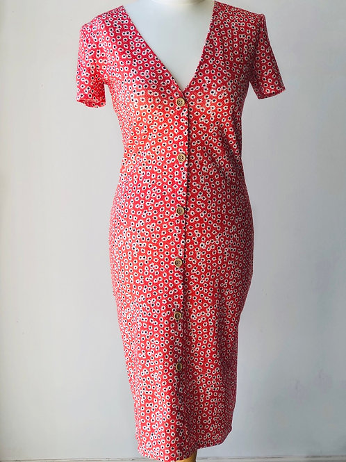 Button front ditsy dress