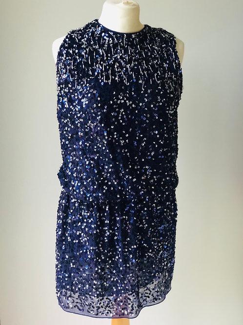 Mango blue embellished dress