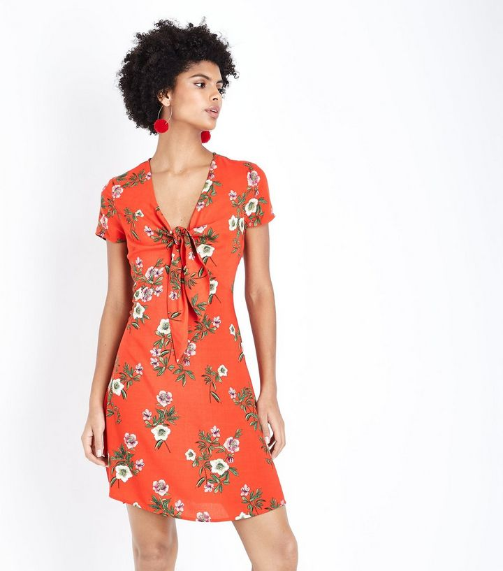 Red floral tie front dress