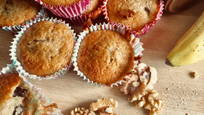 Wholemeal banana, walnut and chocolate muffins