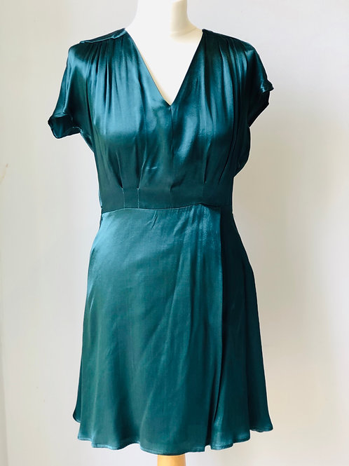 Satin green tea dress