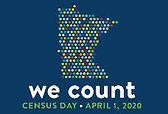 """""""We Count"""" Census 2020 campaign logo, multi color dots in the shape of the state of Minnesota"""