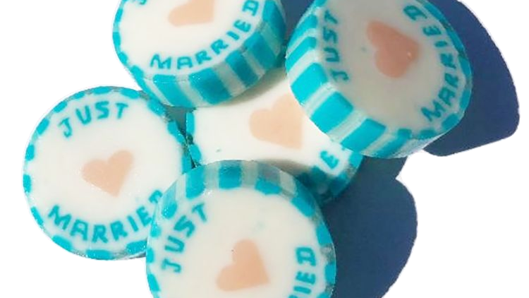 Turquoise Just Married Wedding Favour Rock Sweet