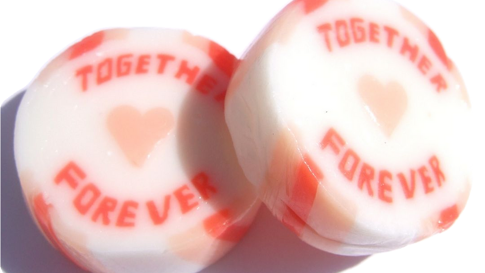 Orange and peach wedding or anniversary favour rock sweet with Together Forever
