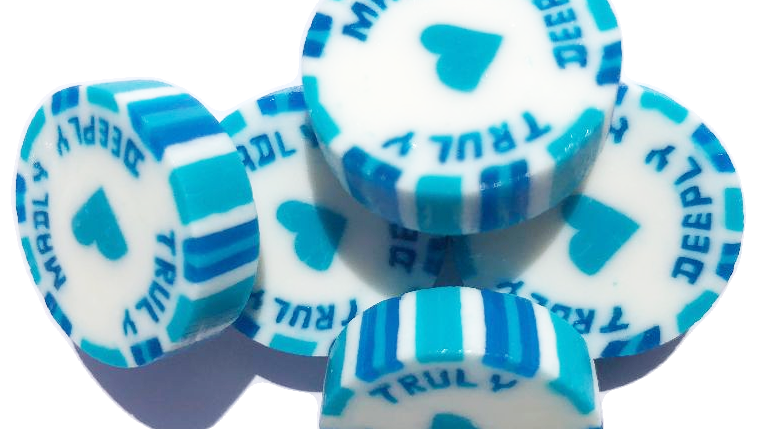 Blue and Turquoise Truly Madly Deeply wedding favour rock sweets