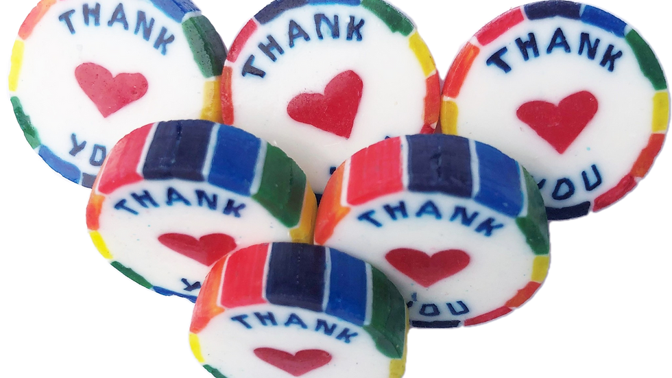 50 x THANK YOU Rainbow Wrapped Rock Sweets Mango & Passion Cheesecake Flavour