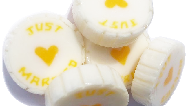 Yellow and Pearl Just Married Wedding Favour Rock Sweet