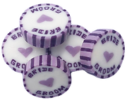 Lilac and purple bride and groom wedding favour sweets