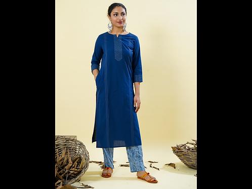 Chacha's 101825 Cotton kurta with threadwork detailing and printed palazzo pants