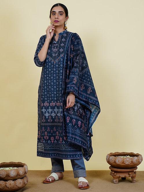 Chacha's 101913 digital printed cotton kurta set with dupatta