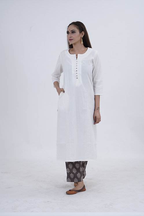 Chacha's101703 white kurta with block print palazzo pants