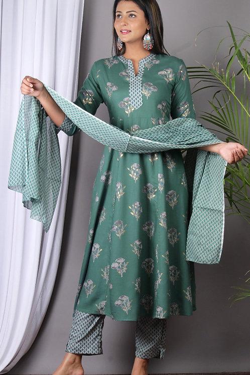 Chacha's 101952 printed cotton silk A-line kurta set