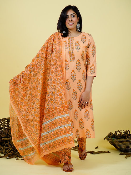 Chacha's 101843 printed cotton kurta set with dupatta