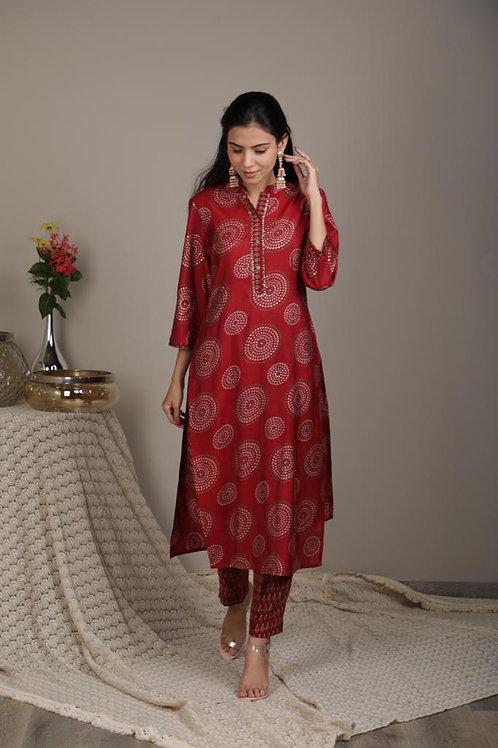 Chacha's 101870 printed cotton silk kurta set
