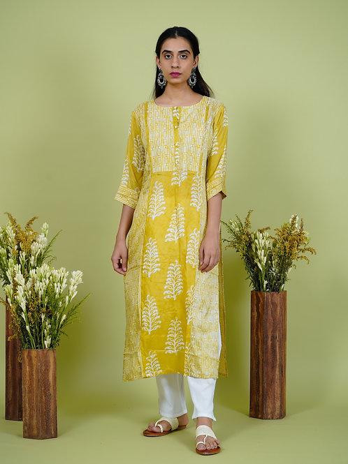 Chachas's 101901 block printed chanderi silk kurta