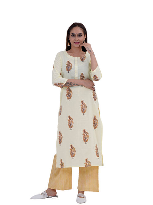 Chacha's101708 Block printed cotton kurta wit palazzo pants