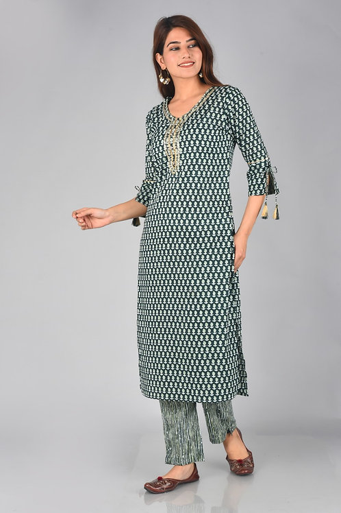 Chacha's 21312 block printed kurta set with dupatta
