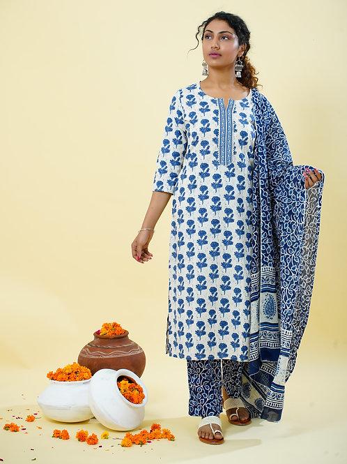 Chacha's 101804 printed kurta with palazzo pants and dupatta