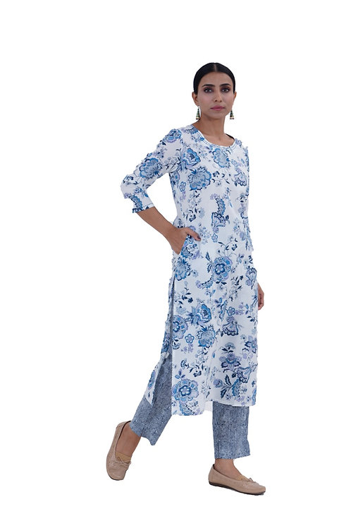 Chacha's101705 printed cotton kurta with striped palazzo set