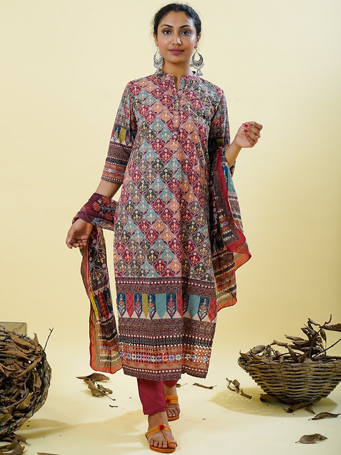 Chacha's 101838 digital printed cotton kurta with palazzo pants and dupatta
