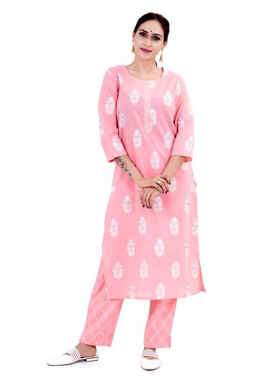 Chacha's 101714 glitter print cotton kurta set