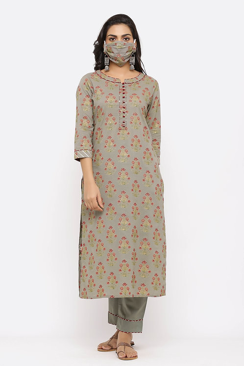 Chacha's171053 printed cotton kurta with pants and face mask