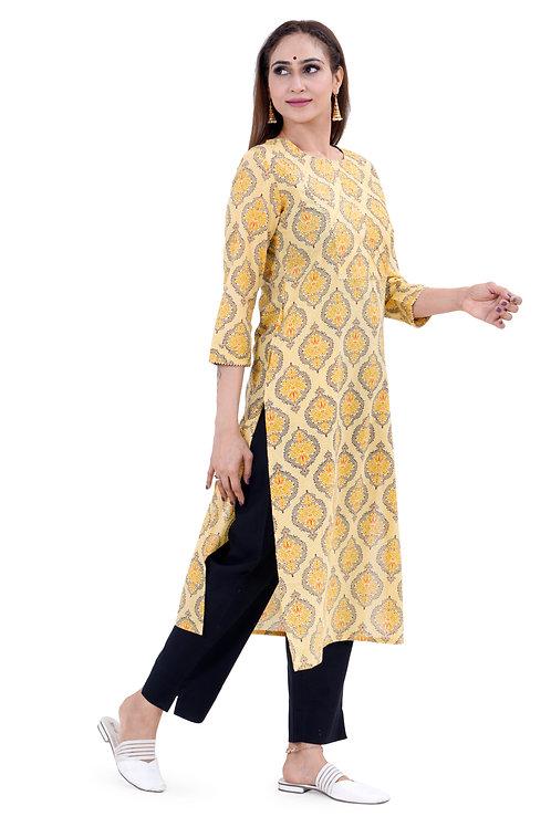 Chacha's101730 Printed cotton kurta with black pants