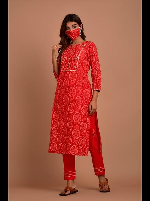 Chacha's 101882 tie&dye cotton kurta set