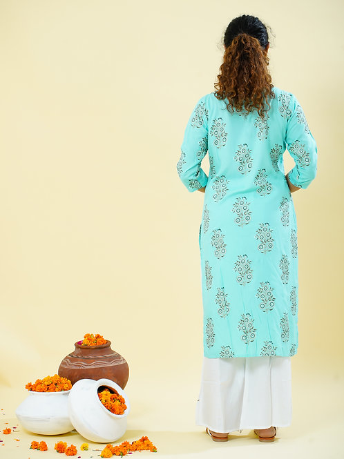 Chacha's 101807 printed rayon kurta with embroidery detailing and palazzo pants