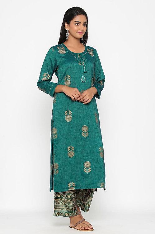 Chacha's 101852 printed rayon kurta with printed palazzo pants