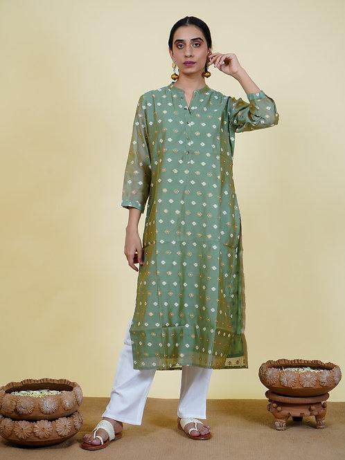 Chacha's 101932 printed chanderi silk kurta
