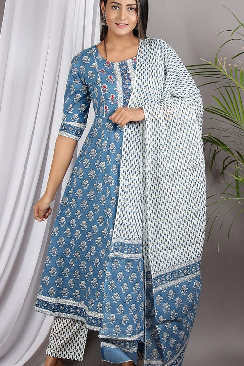 Chacha's 101961 printed cotton A-line kurta set
