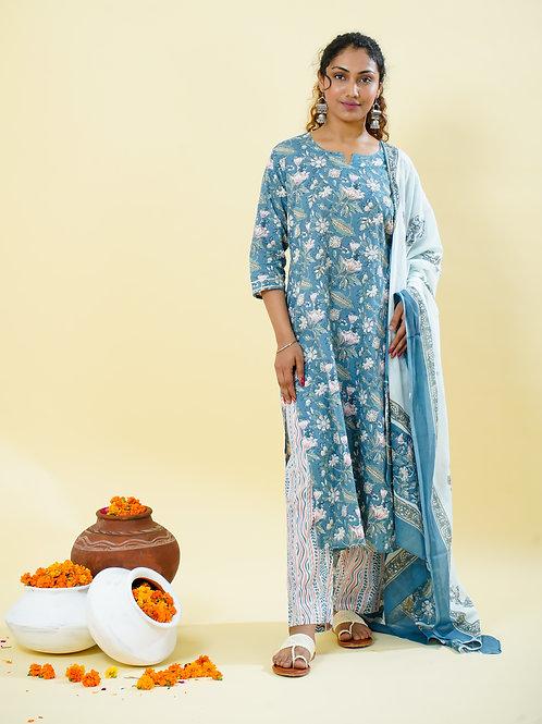 Chacha's 101811 Printed cotton kurta with printed palazzo pants and dupatta