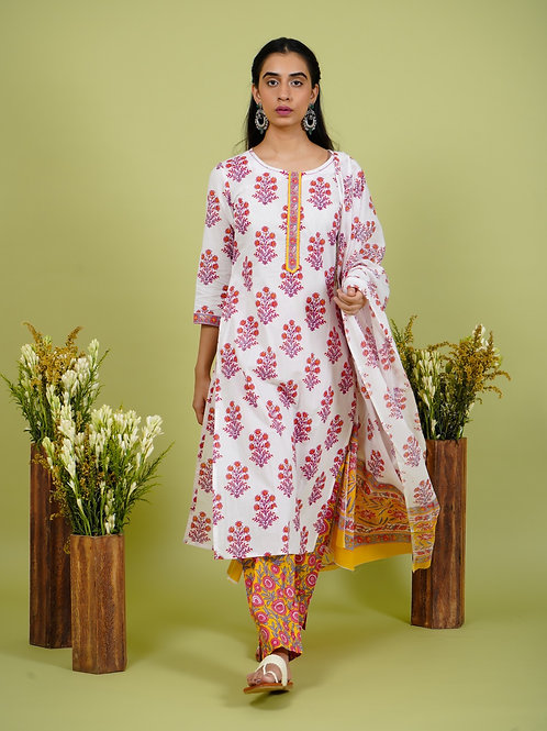 Chacha's 101911 block printed kurta set with dupatta