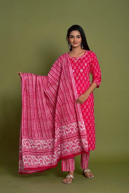 Chacha's 101957 printed cotton kurta set with dupatta
