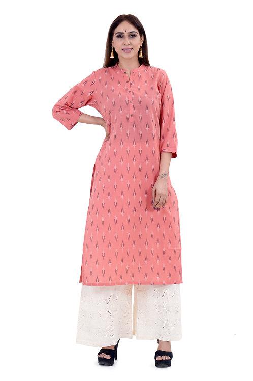 Chacha's120014 ikkat print cotton kurta