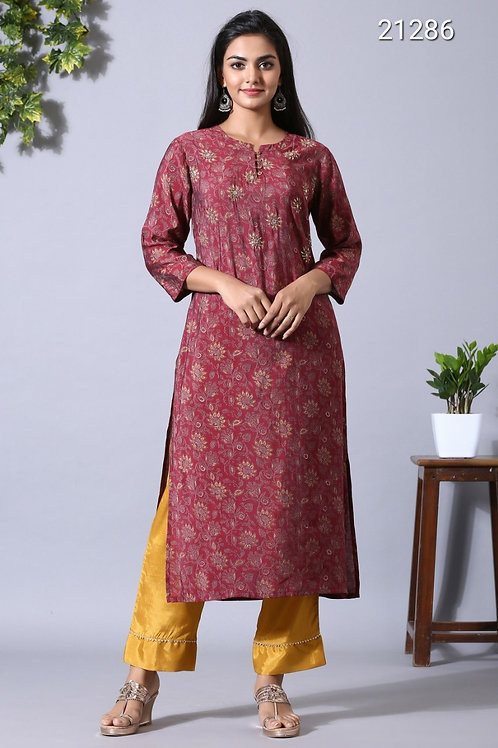 Chacha's 21286 printed muslin silk kurta set