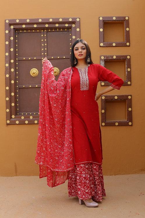 Chacha's  101885 cotton silk kurta set with sharara pants and dupatta