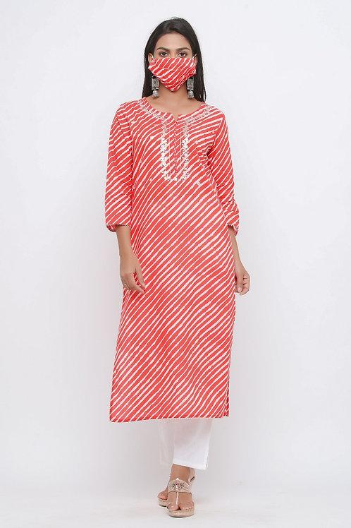 Chacha's170125 cotton kurta with palazzo pants and face mask