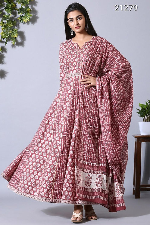 Chacha's 21279 printed anarkali with dupatta