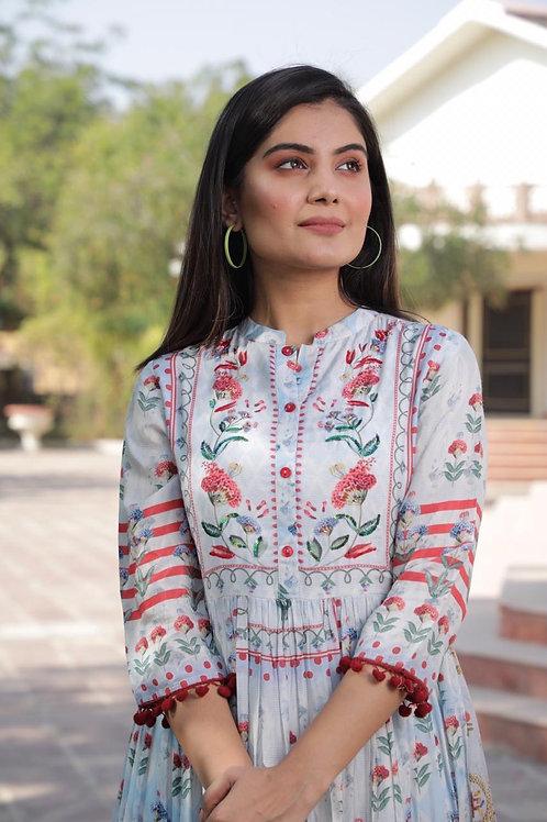 Chacha's 21298 printed muslin Anarkali kurta